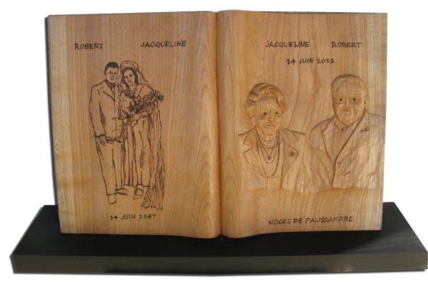 Pour l 39 anniversaires de mariage des noces de palissandre une sculpture su - Quel bois pour sculpter ...