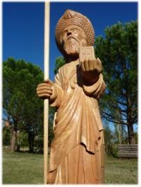 Sculpture d'un pélerin Saint Jacques en bois